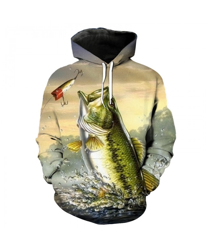 Fun flying eat hook fish print fashion 3D hooded sweatshirt pullover Men Women Casual Pullover Sportswear
