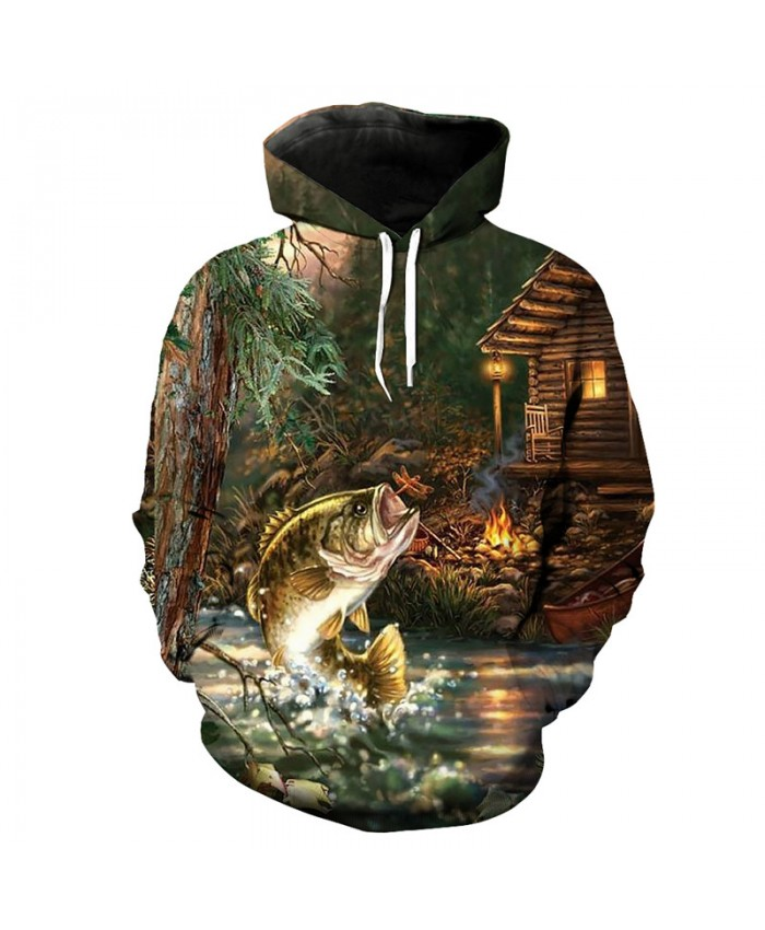 Fun forest flying fish print fashion hooded pullover casual sweatshirt Men Women Casual Pullover Sportswear
