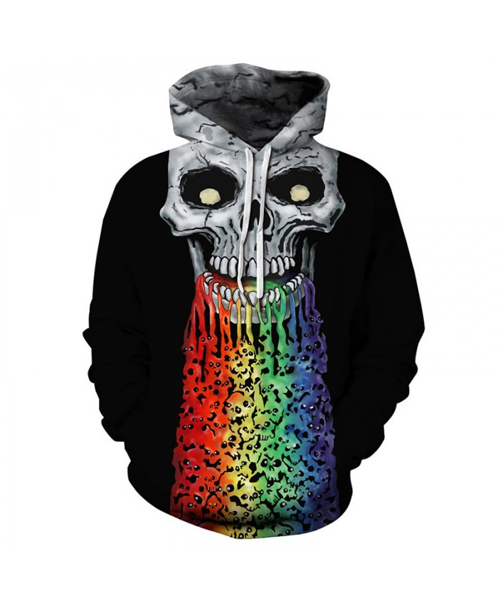 Fun jet rainbow skull print hip hop streetwear fashion hooded sweatshirt