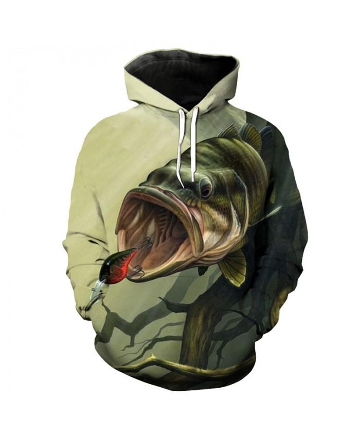 Fun river eating hook fish print fashion 3D hooded sweatshirt sportswear Men Women Casual Pullover Sportswear