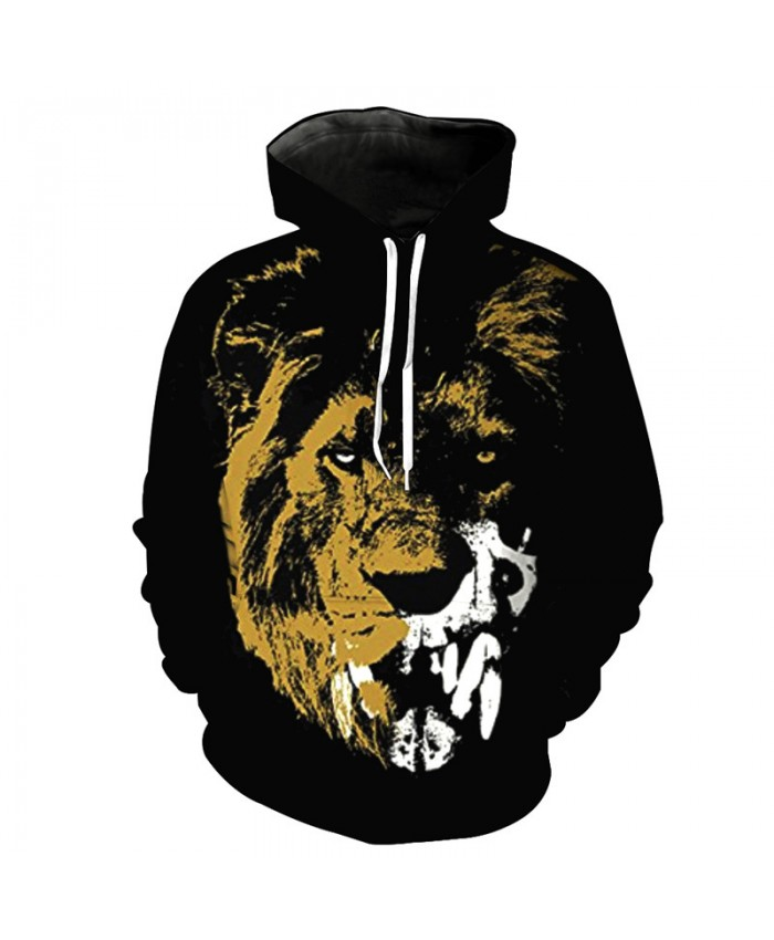 Funny Broken Mouth Lion Prints Black Hooded Sweatshirt Autumn Fashion Hoodies Casual Hoodie Autumn Tracksuit Pullover Hooded Sweatshirt
