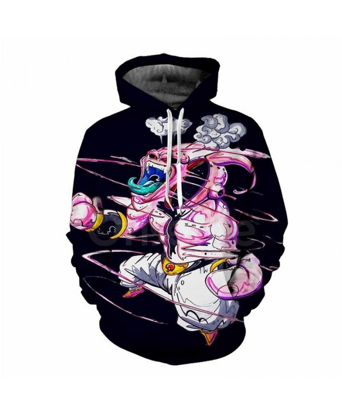 Funny Cartoon Hoodies Dragon Ball Z Super Saiyan Majin Buu 3D All Over Print Pullover casual hooded sweatshirt