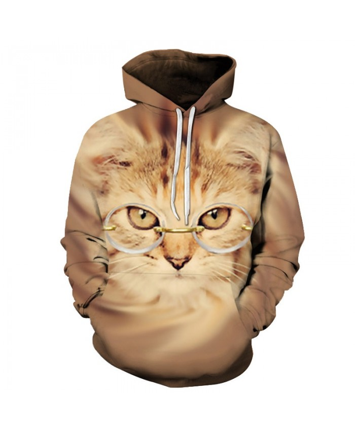 Funny Cat Hoodies Sweatshirts Men Tracksuit Hooded Coat Streetwear Coats 3D Prints Pullover Animal Hoody Drop Ship