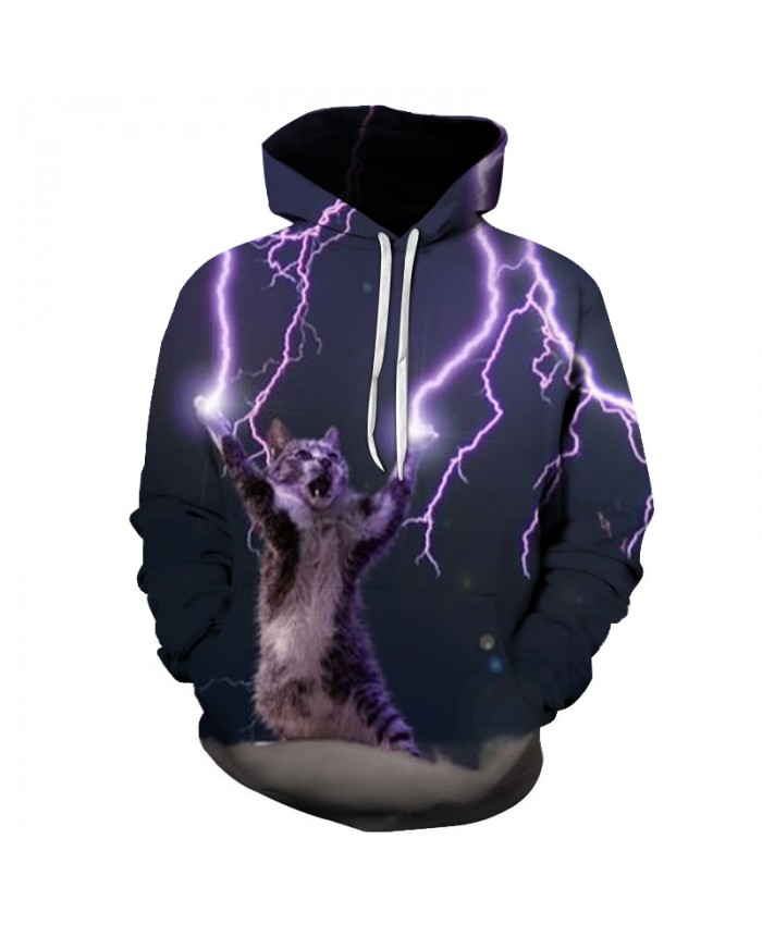 Funny Cat Lightning Hoodies Quality 3D Unisex Sweatshrit Hooded Tracksuit Male Pullover Casual Streetwear