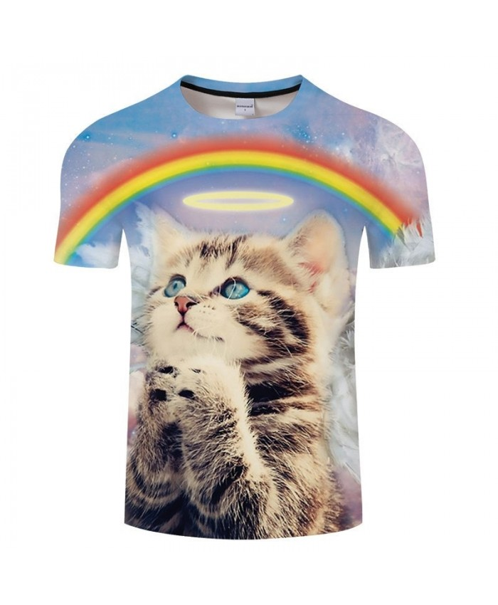 Funny Cat Print T shirt Men Animal tshirt Summer Casual Short Sleeve Unisex Fashion Top Rainbow Pullovers Drop Ship
