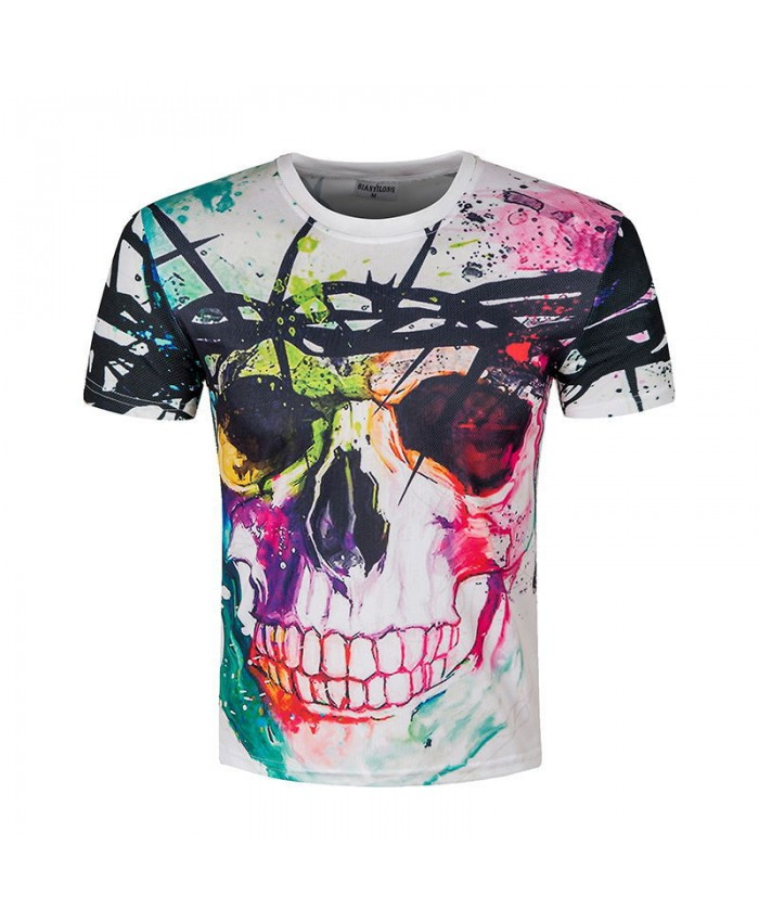 Funny Clolorful Skull T-shirts 3D Printed 2021 Men Skull T shirts Funny Summer Short Sleeve Tee Cool Hip Hop Tops