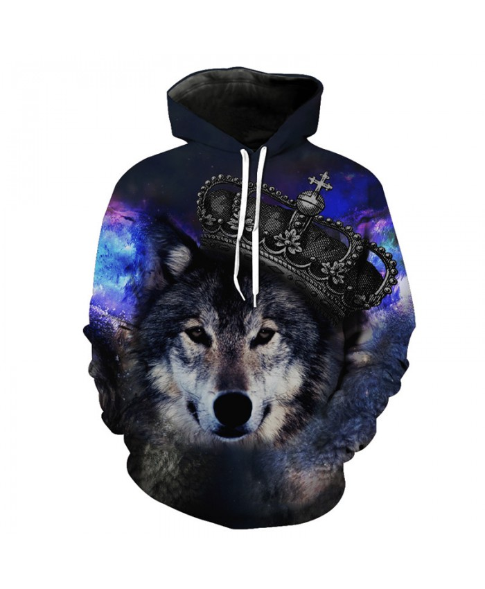 Funny Crown Wolf Fashion Hoodie Galaxy Wanderer Pullover Fall Sweatshirt Tracksuit Pullover Hooded Sweatshirt