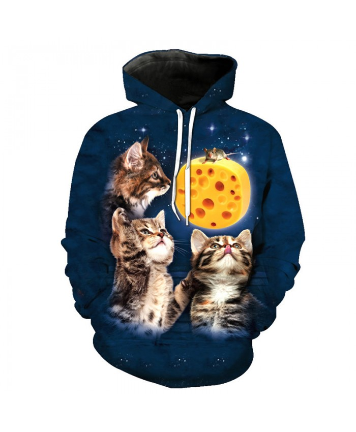 Funny Printed Desperate Mouse 3 Cats Casual Pullover Casual Hoodie Autumn Tracksuit Pullover Hooded Sweatshirt