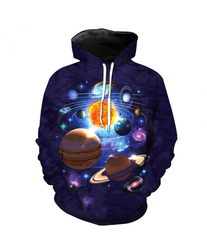 Funny Solar System Miniature Cool Hooded Sewatshirt Street Pullover
