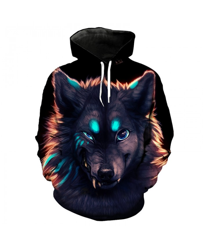 Funny Wolf Print Street Hooded Pullover Fashion Men Women Sportswear Men Women Casual Pullover Sportswear