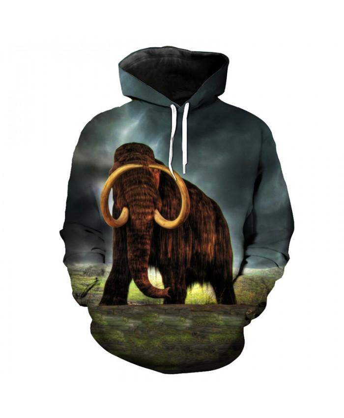 Furious Mammoth Print Fashion Neutral Hooded Sweatshirt Sportswear