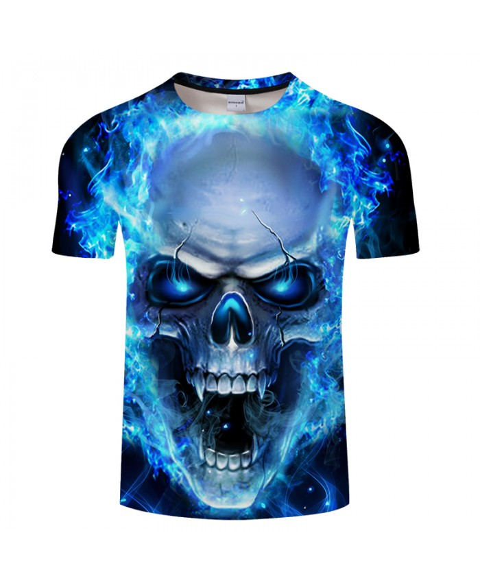 Fury Skull 3D Print t shirt Men Women tshirts Summer Casual Short Sleeve O-neck Tops&Tees Blue Light Drop Ship