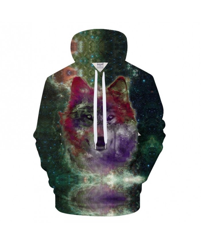 Galaxy 3D Hoodies Men Women Hoody Wolf Sweatshirt Harajuku Tracksuit Pullover Clothes Streetwear Coat Print Drop Ship