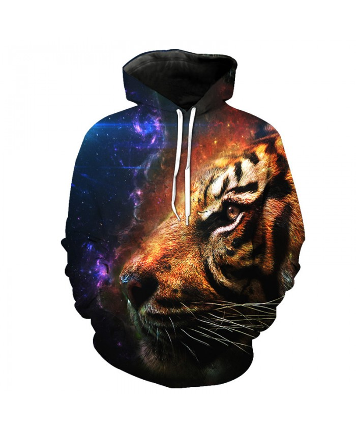 Galaxy Flame Tigers Print Fashion Hooded Sweatshirt Cool Pullover Casual Hoodie Autumn Tracksuit Pullover Hooded Sweatshirt
