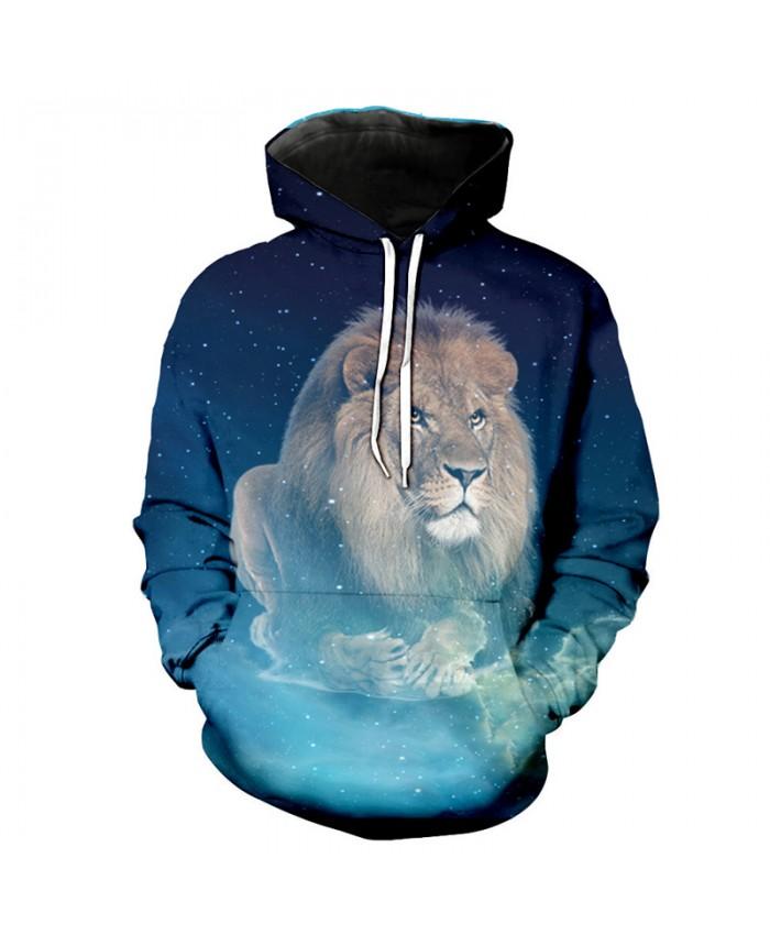 Galaxy Lion Print Neutral hooded sweatshirt Casual Hoodie Autumn Tracksuit Pullover Hooded Sweatshirt