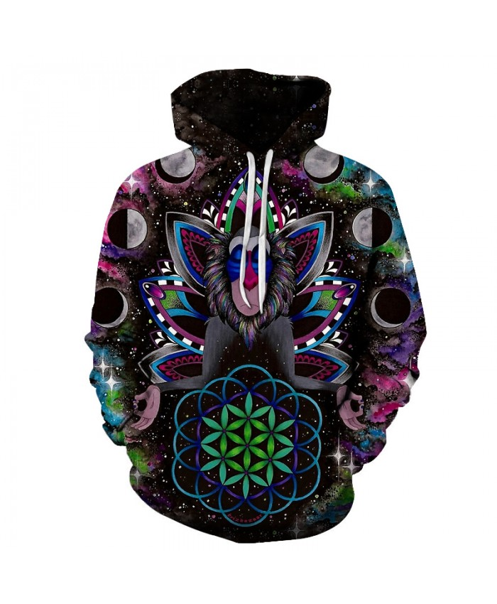 Galaxy Monkey 3D Sweatshirts Men/Women Hoodies With Hat Print Animal Autumn Winter Loose Thin Hooded Hoody Tops