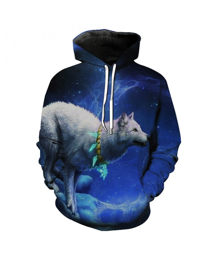 Galaxy Wanders Wolf Hooded Sweatshirt Neutral Hoodies Men Women Casual Pullover Sportswear