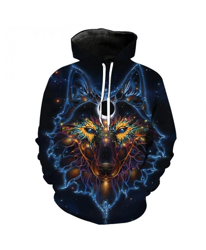 Galaxy Wolf Face Print Fashion Hoodie Cool Pullover Men Women Casual Pullover Sportswear