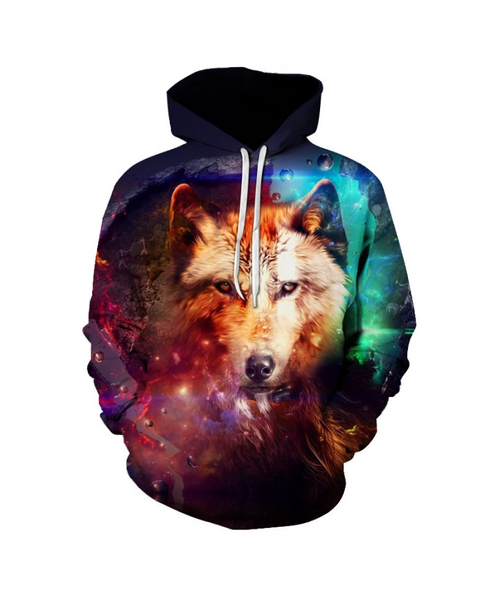 Galaxy Wolf Printing Hooded Sweatshirts Men Women Casual Pullover Sportswear