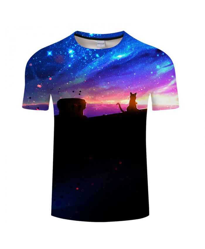 Galaxy&cat 3D Print t shirt Men Women tshirts Summer Casual Short Sleeve O-neck Sweatshirt Tops&Tees 2018 Drop Ship