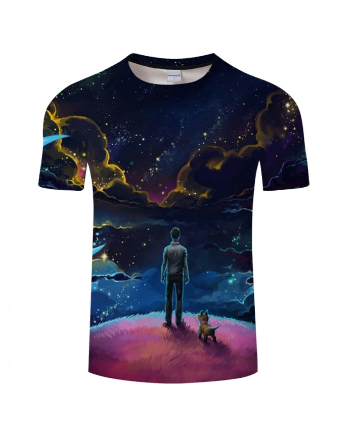 Galaxy&cloud 3D Print t shirt Men Women tshirts Summer Casual Short Sleeve O-neck Tops&Tees Purple 2021 Drop Ship