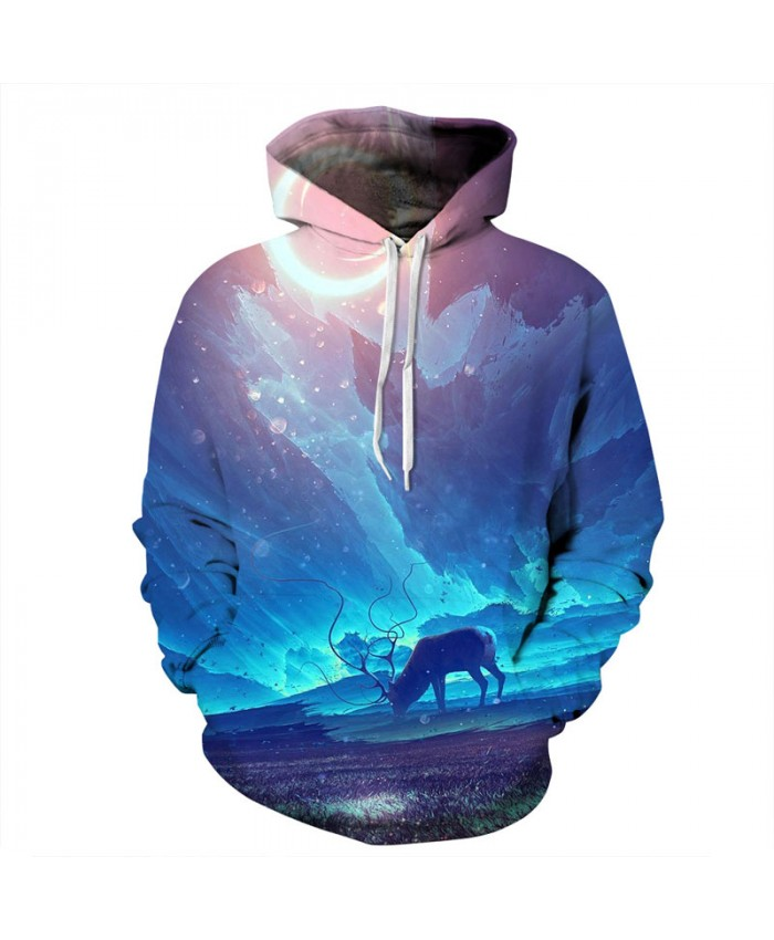 Galaxy deer Hoodies Men Women 3D Sweatshirts Autumn Winter Hooded Jackets Plus size Quality Outwear Male Coat Brand Printed