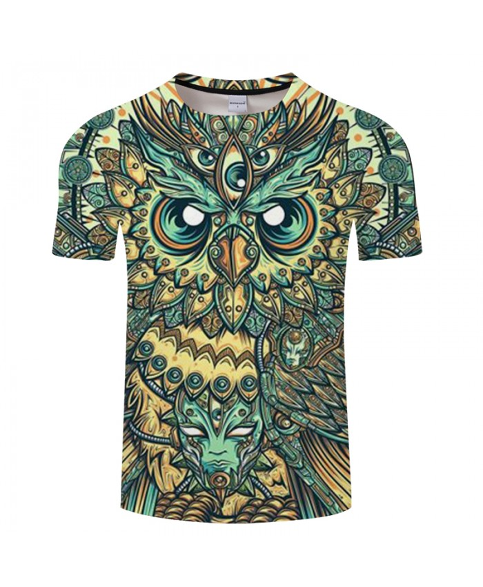 Geometric figure Owl Print 3D T shirt Men Women tshirts Summer Cartoon Short Sleeve O-neck Tops&Tees 2021 Drop Ship
