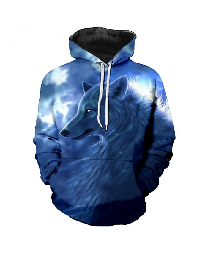 Ghost Wolf Print Fashion Hooded Sweatshirt Men Women hoodies Tracksuit Pullover Hooded Sweatshirt
