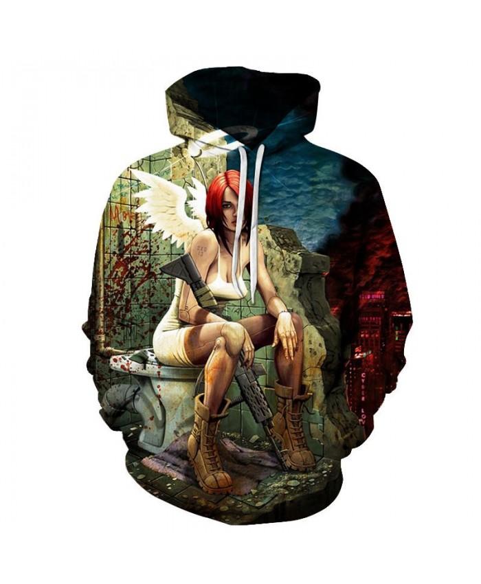Girl With A Gun Men Pullover Sweatshirt Clothing for Mens Custom Pullover Hoodie Streetwear Sweatshirt Casual Hoodie