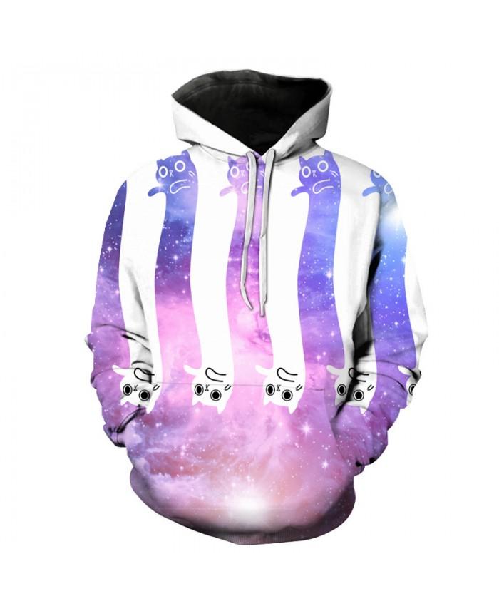 Glaxy Cat Unisex Hoodies Sweatshirts Cat 3D Hoodies Autumn Spring Novelty Skateboard Hoodie Male Pullover Casual Streetwear