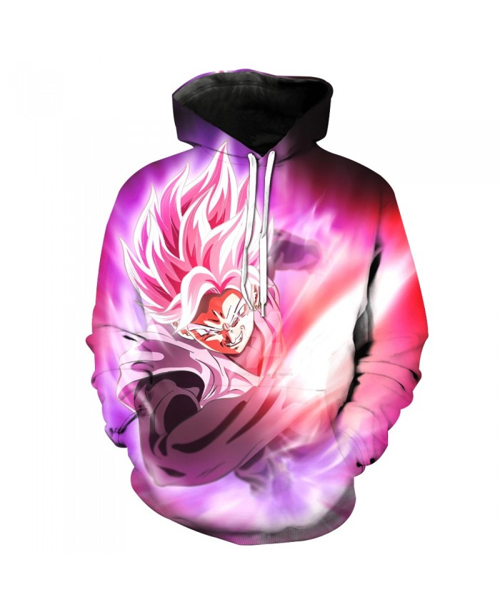 Goku Black Rose Ataque 3D Sweatshirts Men Skateboarding Hoodies Sports Pullovers Dragon Ball Z Goku Super Saiyan Hooded Tops A