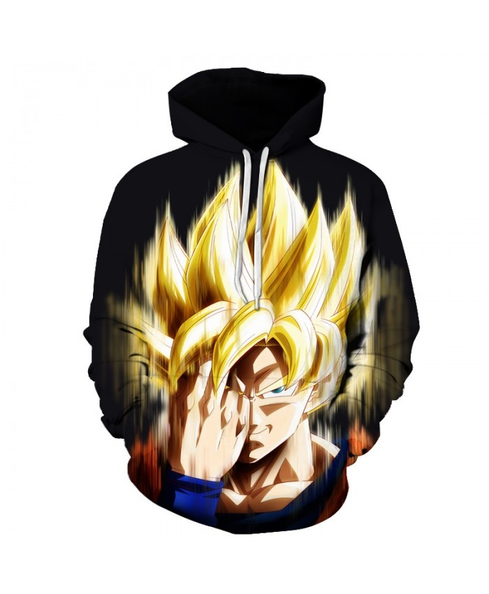 Golden Hair Black Hoodie Men Women 3D Print Hoodies Dragon Ball Sweatshirts Pullover Goku Tracksuit Band Cartoon Coat DropShip