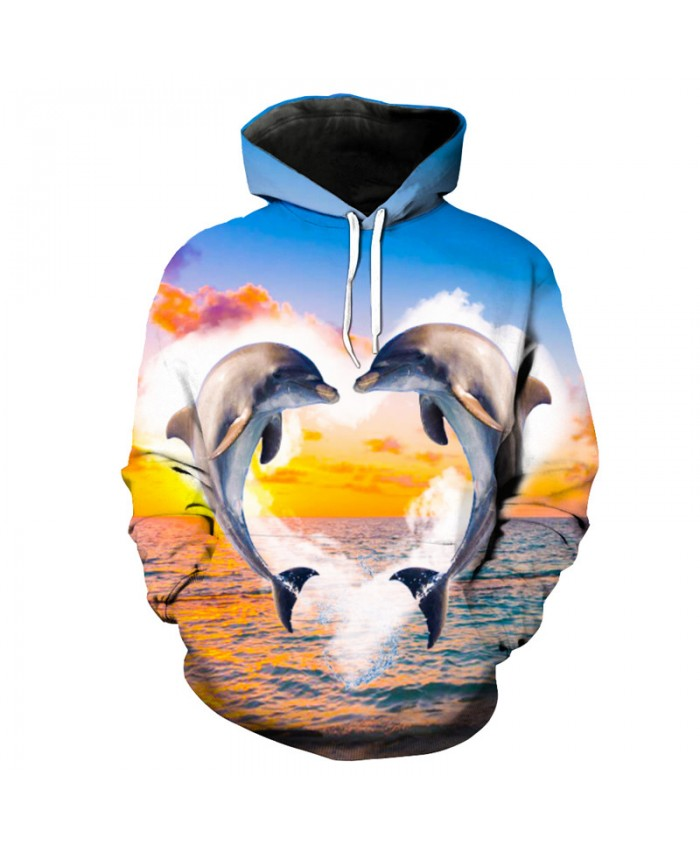 Golden Ocean Jumping Love Dolphin Print Sportswear Fashion Hooded Sweatshirt Men Women Casual Pullover Sportswear