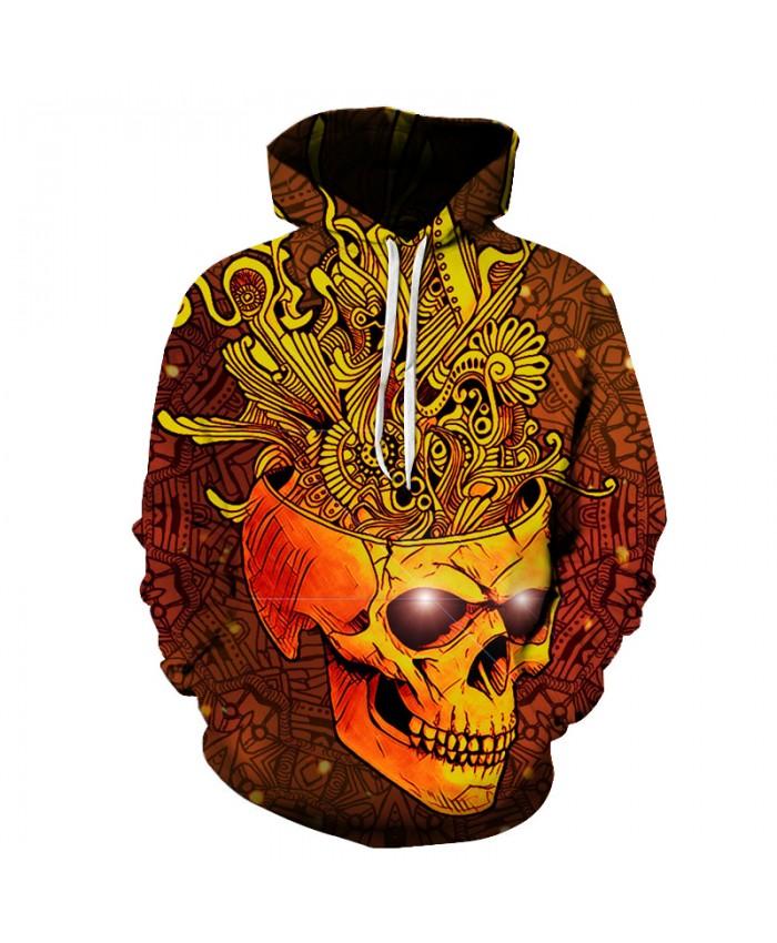 Golden Skull Printed Men 3D Sweatshirts Women Unisex Pullover Hooded Tracksuits Funny Jackets Brand Outwear Harajuku Hoodies