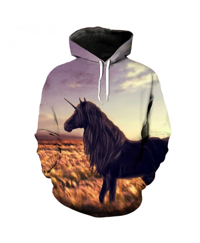 Golden Wheat Field Unicorn Hoodie Leisure Pullover Casual Hoodie Autumn Tracksuit Pullover Hooded Sweatshirt
