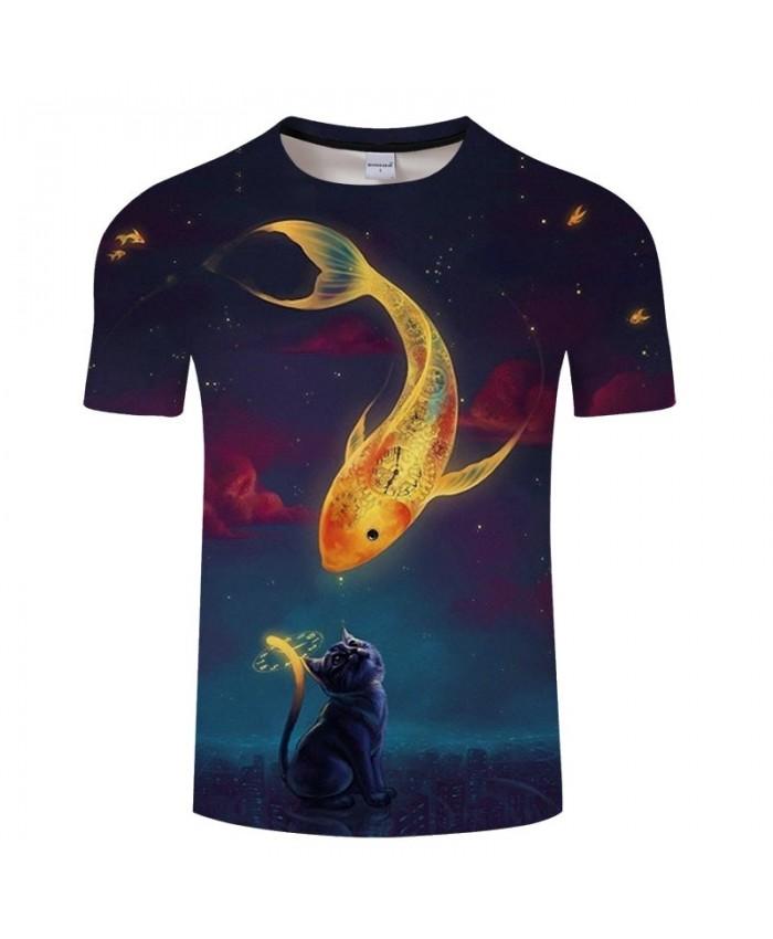 Goldfish On Cat Head 3D Print Men tshirt Crossfit Shirt Casual Summer Short Sleeve Men Brand T Shirt Men Round Neck
