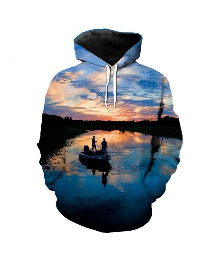 Good Friend at dusk Capture Fish Fun Print Casual 3D Hooded Sweatshirt Pullovers Men Women Casual Pullover Sportswear