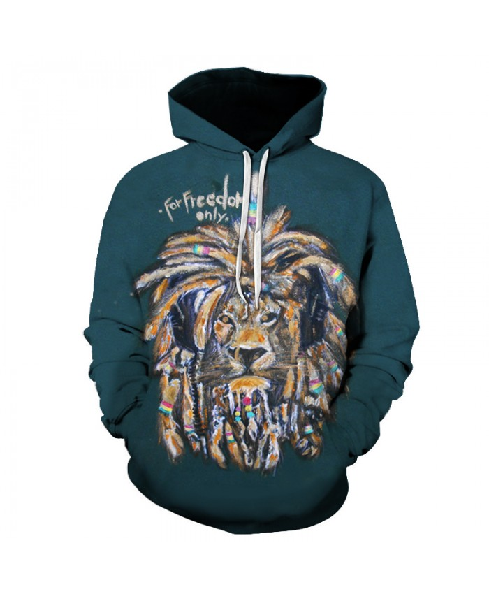 Graffi Lion Hoodies Men/Women 3D Printed Green Sweatshirt 2018 Autumn Winter Hip Hop Streetwear Tracksuit Men Hooded Hoody Tops