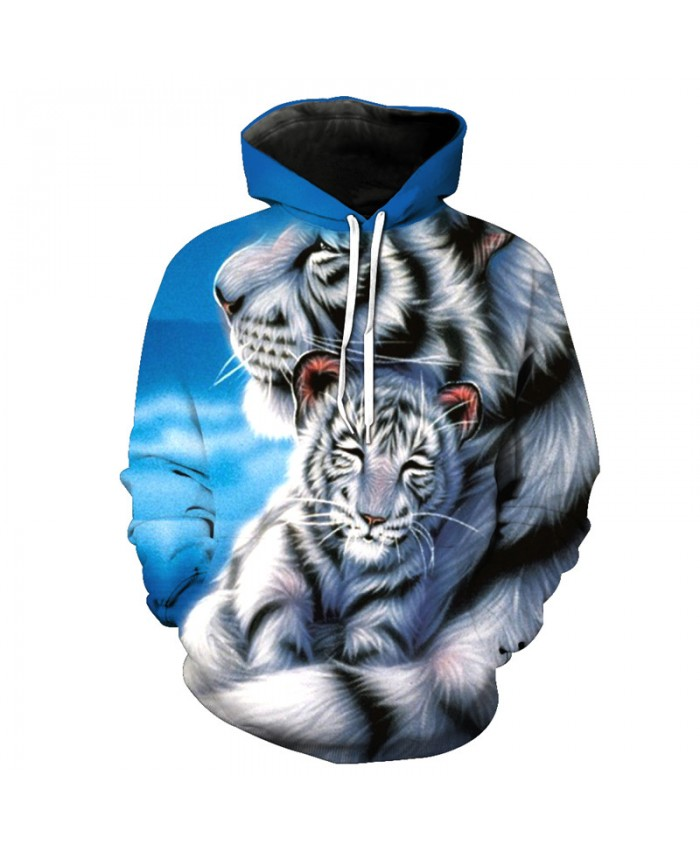 Great Love Size White Tiger Print Hooded Sweatshirt Autumn Pullover Casual Hoodie Autumn Tracksuit Pullover Hooded Sweatshirt