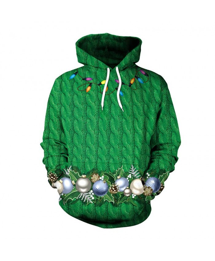 Green Christmas Wreath Christmas Sweater Unisex Men Women Vacation Santa Elf Pullover Funny Sweaters Tops Autumn Winter Clothing