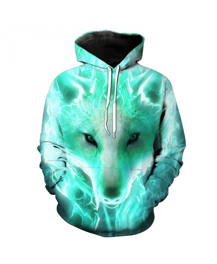 Green Flame Wolf Fashion Hooded Sweatshirt Cool Pullover Men Women Casual Pullover Sportswear