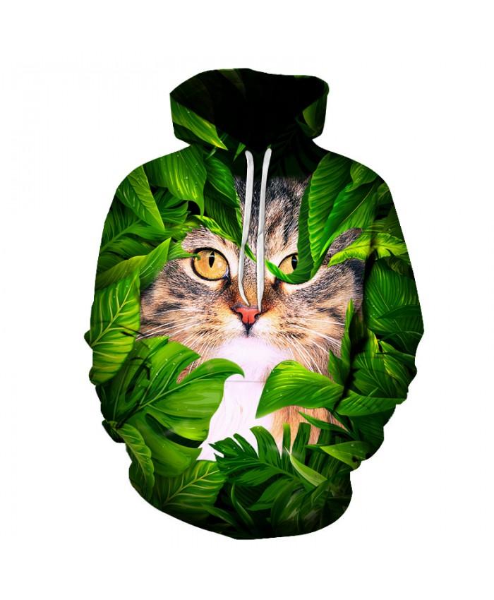 Green Leaves Cat Printed 3D Mens Sweatshirts Hoodie Unisex Autumn Winter Hooded Pullover Casual Sportwear Brand Plus 6xl Jacket