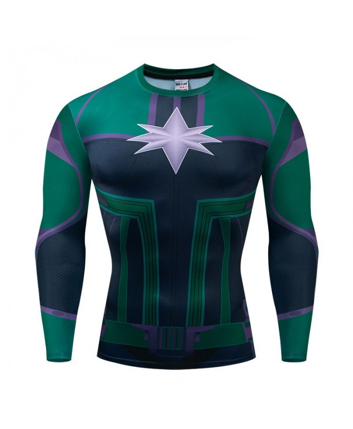 Green Long Sleeve Men Fitness Compression Bodybuilding Long Sleeve The Avengers 4 Tops Tee Brand Marvel