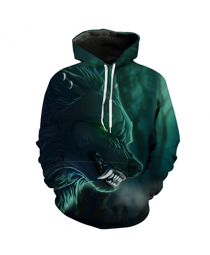 Green Long Tooth Wolf Hooded Sweatshirt Neutral Hoodies Men Women Casual Pullover Sportswear