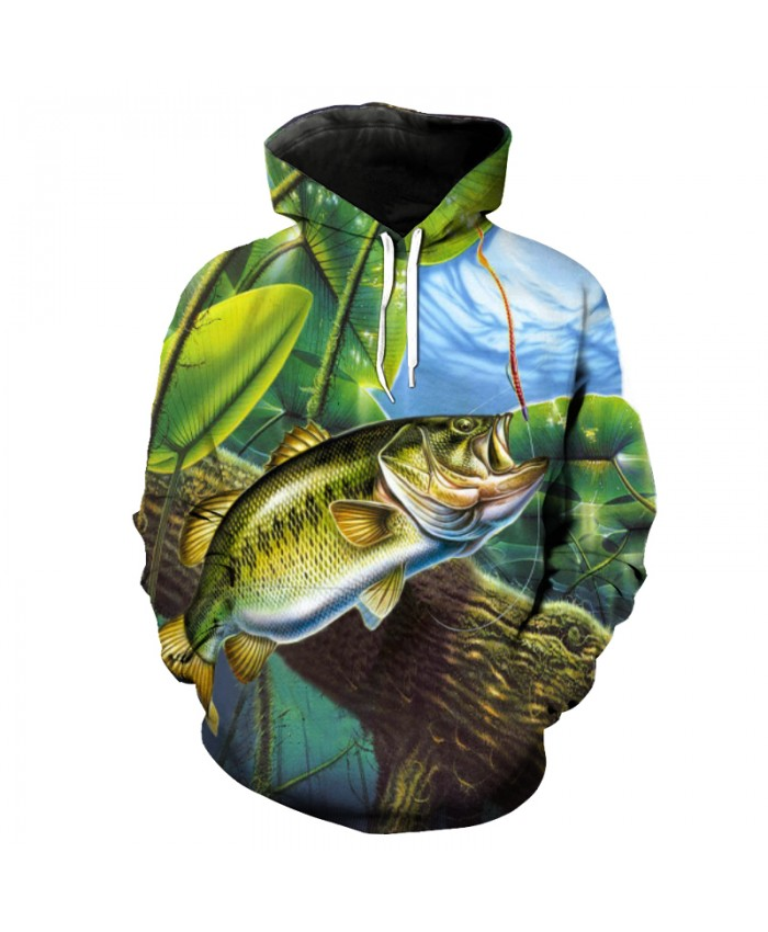 Green Lotus Pond Eating Hook Fish Print Casual Hooded Sweatshirs Fun Pullover Men Women Casual Pullover Sportswear