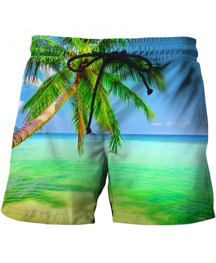 Green Palm Tree Men Board Short 3D Print Men Short Casual Summer Cool Men Elastic Waist Male Fitness Short Drop Ship