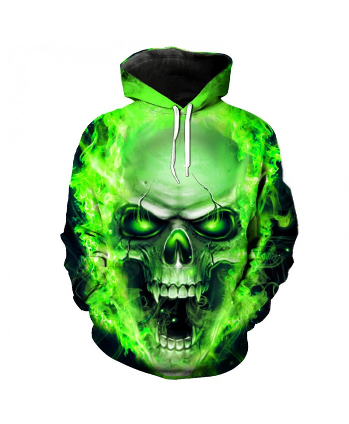 Green Skull Head Hoodie New 2019 Men's Sweatshirts Street Hip hop Pullover Tracksuit Pullover Hooded Sweatshirt