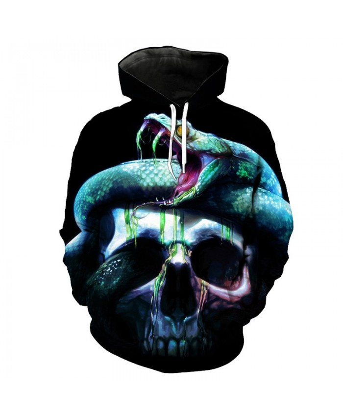 Green Snake Skull Print Men's 3D Hooded Sweatshirt Streetwear Latest Pullover Tracksuit Pullover Hooded Sweatshirt