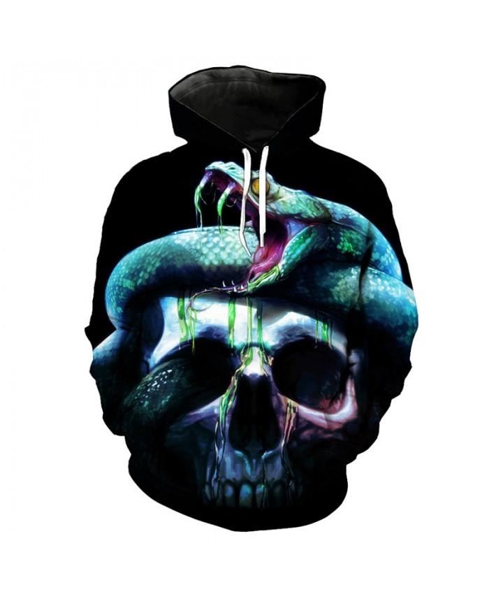 Green Snake Skull Print Men's 3D Hooded Sweatshirt Streetwear Latest Pullover Tracksuit Pullover Hooded Sweatshirt