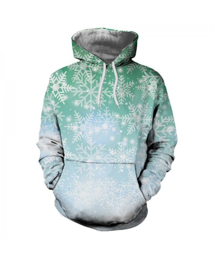 Green Snowflake Christmas Hoodies 3D Sweatshirts Men Women Hoodie Print Couple Tracksuit Hooded Hoody Clothing